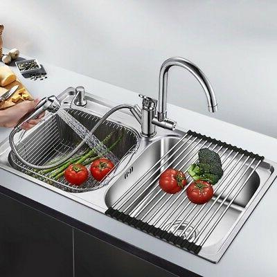 Kitchen Drainer Drying Steel Over Sink Rack