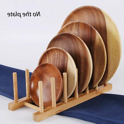 Kitchen Dish Plate Drain Holder Stand Bamboo Rack Grid