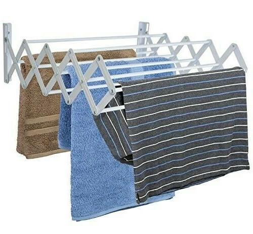 wall mounted accordian folding clothes drying rack