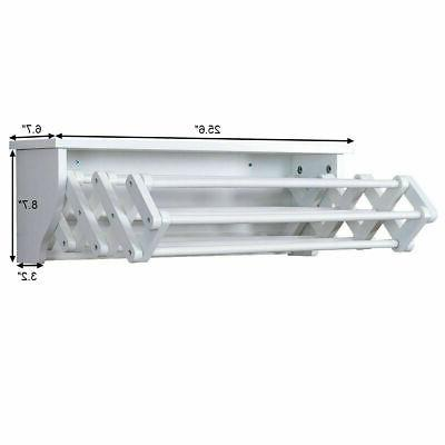 White Bathroom Wall-Mounted Rack Folding Laundry Shelf