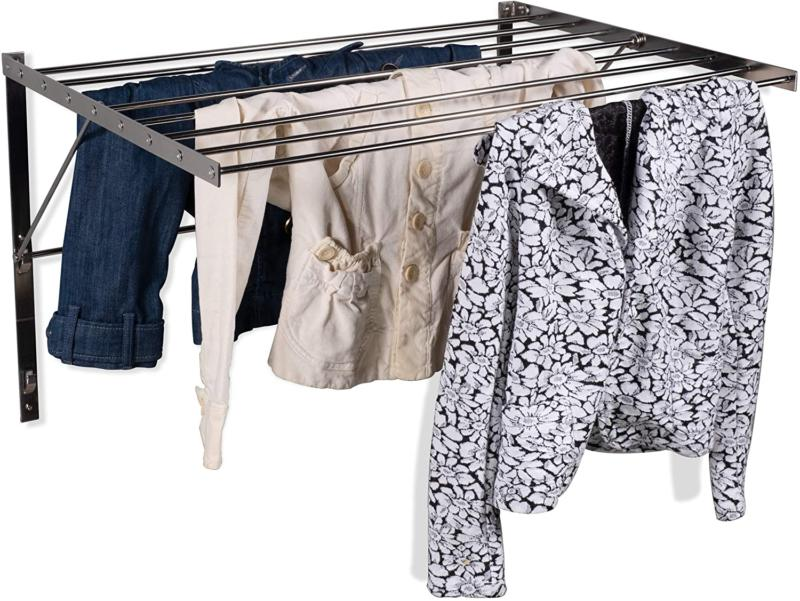 Wall Mounted Laundry Drying Rack Steel Clothes Folding