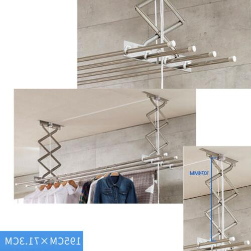 72x19x26'' Retractable Wall-Mount Drying Laundry Clothes Hanger Indoor