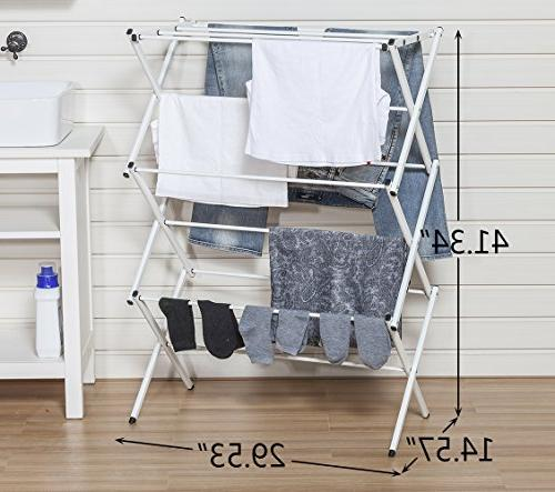 STORAGE MANIAC XL Clothes Drying Inch Height, Laundry Rack with Rustproof Coating, White
