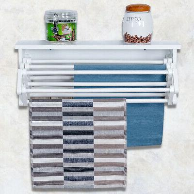 White Wall-Mounted Rack Folding Laundry
