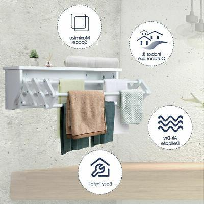 White Bathroom Rack Folding Laundry