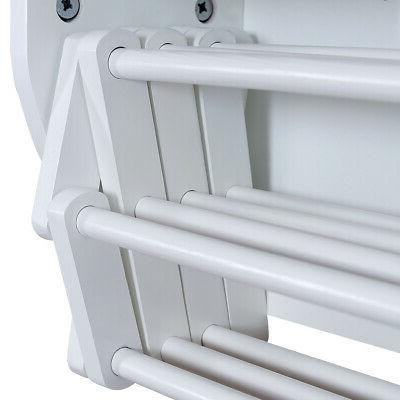 White Wall-Mounted Drying Rack Laundry Shelf