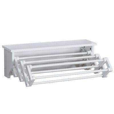 white bathroom wall mounted drying rack folding