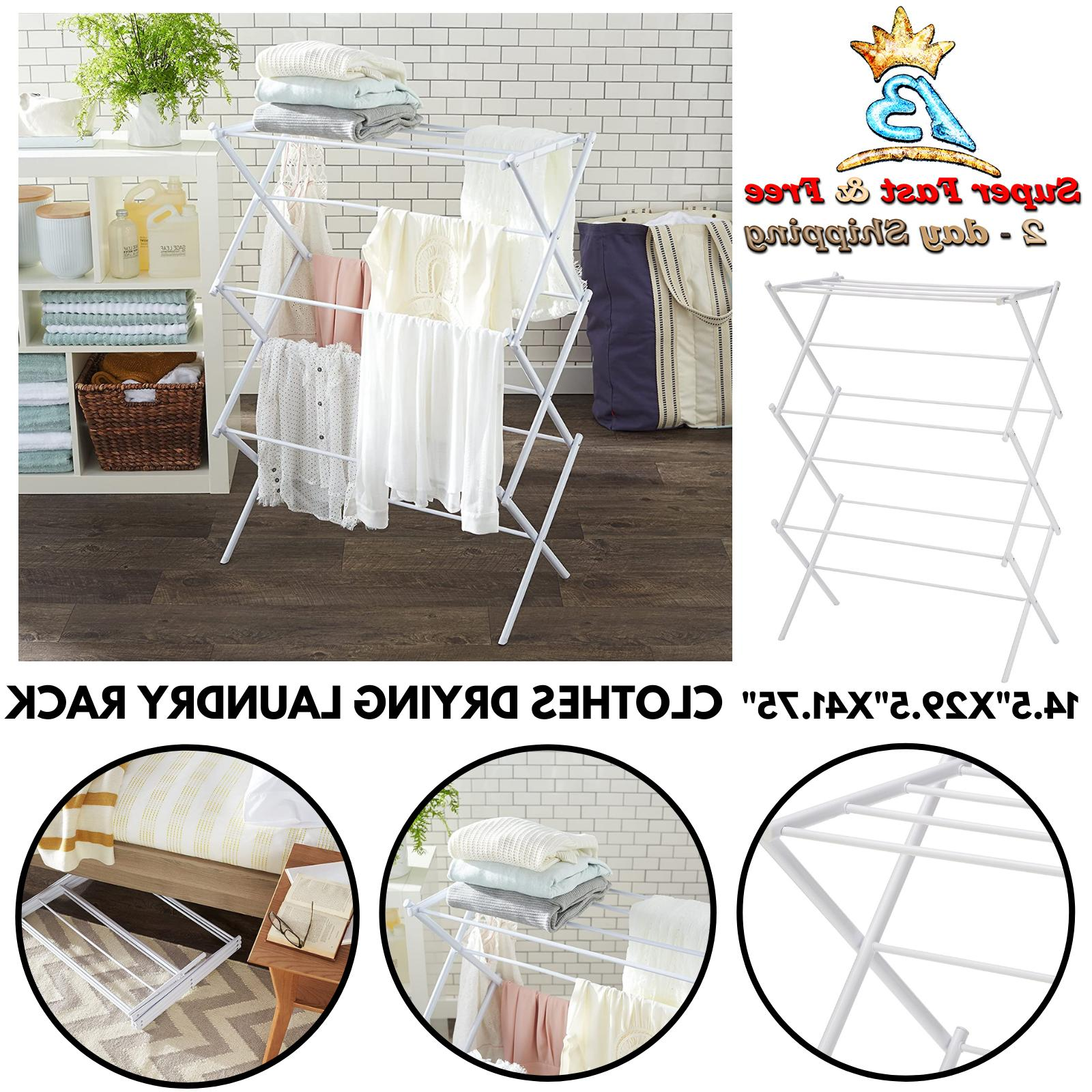 white steel folding laundry collapsible clothes towel