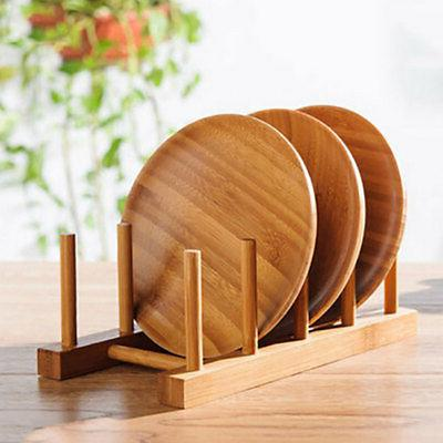 Wooden Dish Drying Rack Bamboo Drainer Kitchen Plate Holder