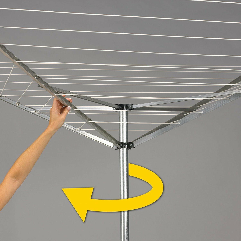 XL 165-FT Aluminum Retractable Umbrella Clothesline Drying