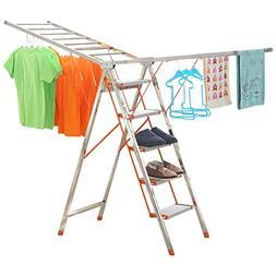 Step Ladder 4 Step, Metal Heavy Duty Multi-purpose Drying Ra