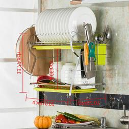 2 Tiers Dish Drying Rack Drainer Dryer Tray Kitchen Plate Cu