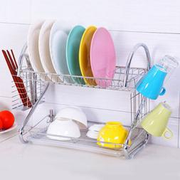 Large Capacity 2 Tier Dish Drainer Chopsticks Cup Drying Rac