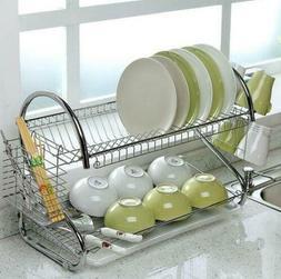 Large Capacity 2 Tier Dish Drainer Drying Rack Kitchen Stora