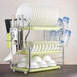 Large Capacity 3 Tier Dish Drainer Drying Rack Kitchen Stora