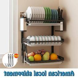Large Capacity Dish Rack 3 Tier w/ Utensil Holder Drainer Dr