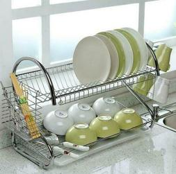 2-Tier Large Dish Drainer Drying Rack Cup Stainless Steel Wa