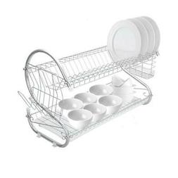 Large Dish Drying Rack Cup Drainer 2-Tier Strainer Holder Tr