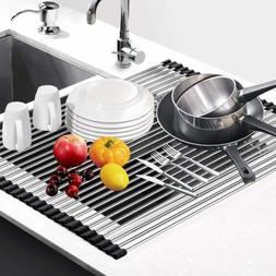 Large Dish Drying Rack Heavy Duty Silicone Stainless Steel K