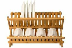 Large Dish Drying Rack RV Folding Foldable Wood Dinner Plate