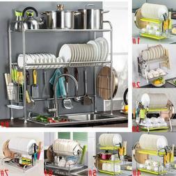 Large Dish Rack Utensils Holder Side Drainer Drying Tray Sta