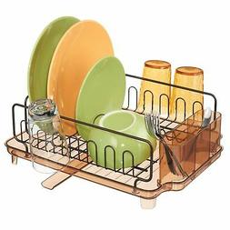 mDesign Large Kitchen Dish Drying Rack / Drainboard, Swivel