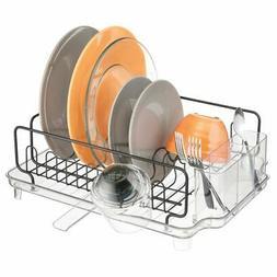 mDesign Large Kitchen Dish Drying Rack / Drainboard, Swivel