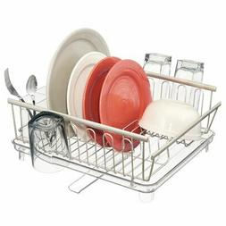 mDesign Large Kitchen Dish Drying Rack with Adjustable Swive