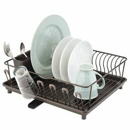mDesign Large Kitchen Dish Drying Rack with Swivel Spout, 3
