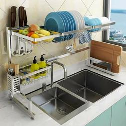 Large Over Sink Dish Drying Rack Drainer Stainless Steel Kit