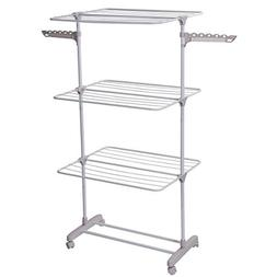 Drynatural 3-Tier Collapsible Clothes Drying Rack Rolling Cl