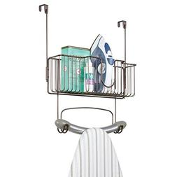mDesign Metal Wire Over Door Hanging Ironing Board Holder wi