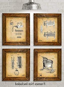 Original Laundry Room Patent Prints - Set of Four Photos  Un