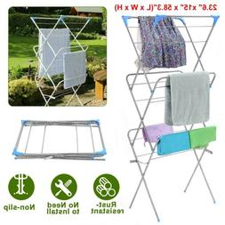 Laundry Storage Drying Rack Folding Clothes Horse Airer For
