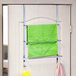 ArtMoon Luck Over Door 3-Tier Towel Rail With 2 Hooks Chrome