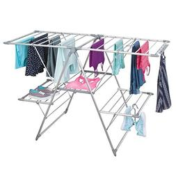 mDesign 5 Shelf Expandable Drying Rack - Collapsible Clothes