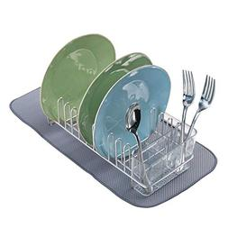 mDesign Compact Dish Drainer Rack and Mini Drying Mat for Ki