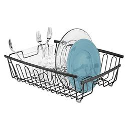 mDesign Kitchen Dish Drainer Rack for Drying Glasses, Silver