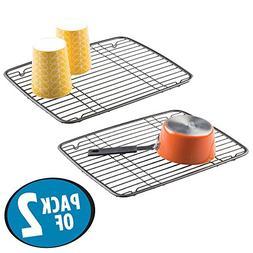 mDesign Kitchen Sink Metal Dish Drying Rack/Mat - Sleek Stee