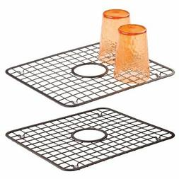 mDesign Modern Kitchen Sink Metal Dish Drying Rack/Mat with