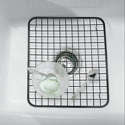 mDesign Modern Kitchen Sink Metal Dish Drying Rack/Mat - Ste