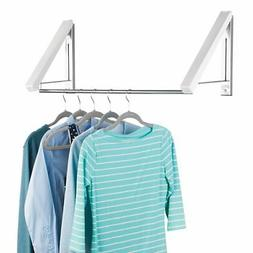 mDesign Wall Mounted Metal and Plastic Clothes Hanger Holder
