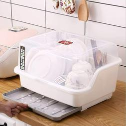 Medium Size Dish Drying Rack and Drain Board with Lid Cover,