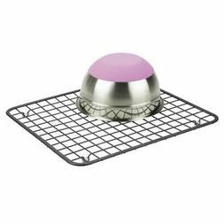 mDesign Metal Kitchen Sink Dish Drying Rack / Mat, Grid Desi