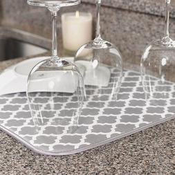Microfiber Dish Drying Mat 40X29 Grey White Trellis Countert