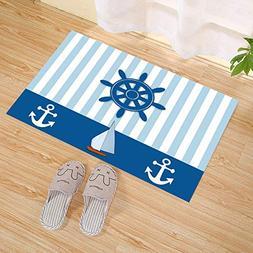 Mint Blue Vertical Stripes Sailboat White Nautical Anchor Na