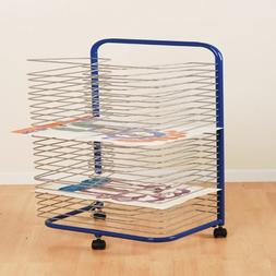 Mobile Drying Rack with 24 Wire Shelves for Works of Art