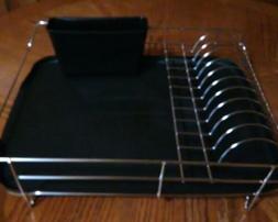 Modern Dish Drying Drain Rack Caddy Stainless Steel & Black