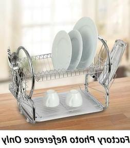 Modern Kitchen Chrome Plated 2-Tier Dish Drying Rack 16in. U