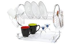Modern Kitchen Chrome Plated 2-Tier Dish Drying Rack and Dra